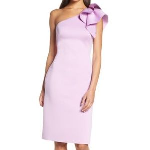 Eliza J One Shoulder Sheath Neoprene Ruffle Dress